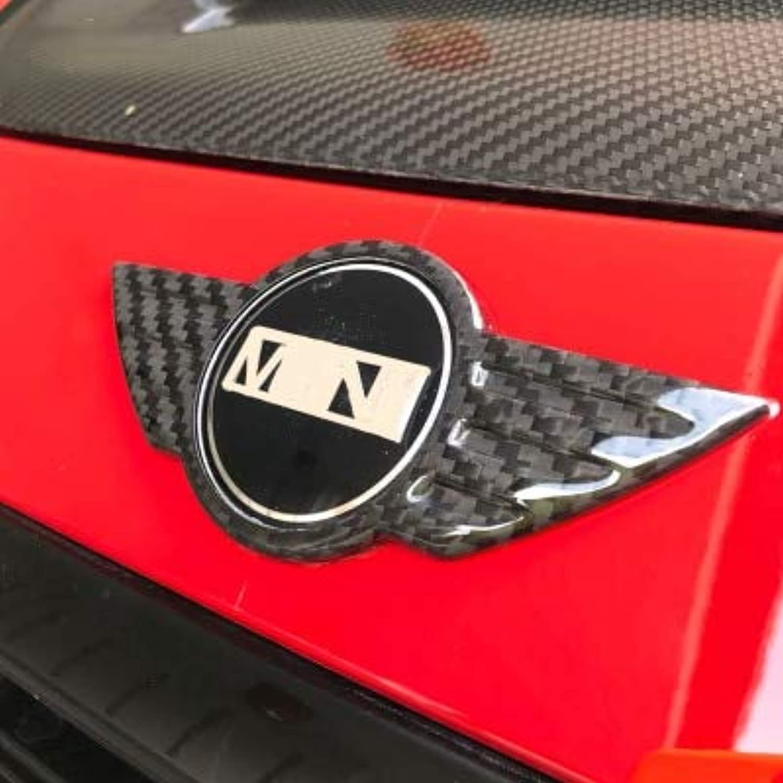 Brand New Carbon Fiber Material UV Predected Logo Front and Rear Emblem for Cooper R56(2 Pcs Set)