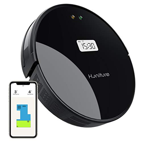 HONITURE Q5 2000 Pa LCD Robot Vacuum Cleaner with Tempered Glass Cover, Sweeping and Mopping, 180min Runtime, Self-Charging, WiFi-APP & Alexa, Quiet, Super Thin, Ideal for Hair, Hard Floor, Carpet