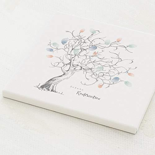 sendmoments Fingerabdruck Leinwand, Gästebaum Konfirmation, quadratisch 30x30 cm, personalisiert...