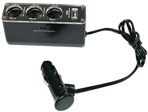 Belson SPLT-3 - Cargador de mechero múltiple con toma USB 5V-1A, para telefonía, GPS, PDA, negro