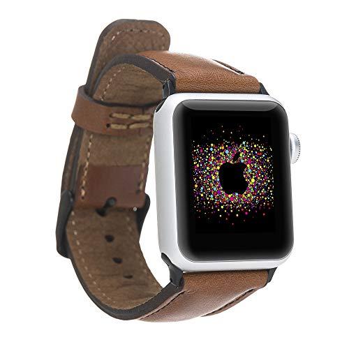 Pulsera de piel auténtica compatible con Apple Watch Series SE, 6 y 5/4/3/2/1, pulsera de cuero hecha a mano, 44 mm, 42 mm, 40 mm, 38 mm para hombre y mujer (38 – 40 mm, marrón claro, conector negro).