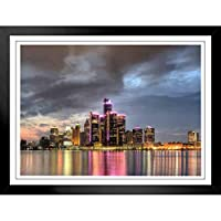 ぶら下げ絵画 - 性格ポスター - 夕暮れ時にデトロイトミシガン州の街並みのスカイラインテーマ - サイズ:33x28cm(額縁を送る)