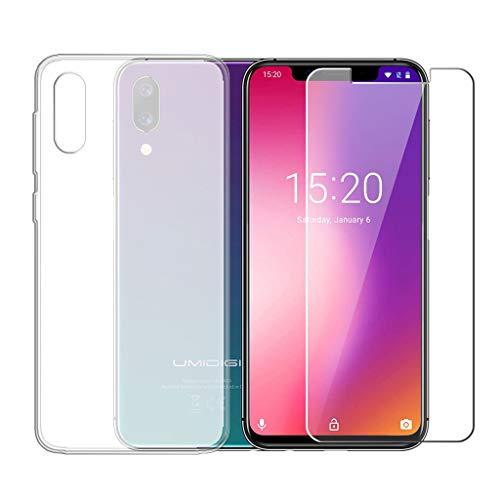 LJSM Hülle für UMIDIGI One/UMIDIGI One Pro Semi-Transparent + Panzerglas Bildschirmschutzfolie Schutzfolie - Weich Silikon Schutzhülle Crystal Flexibel TPU Tasche Case für (5.9