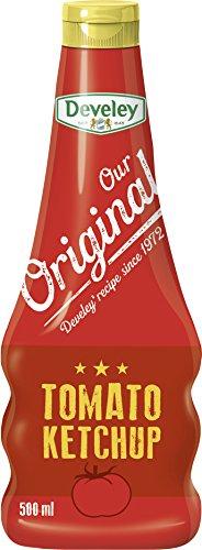 DEVELEY Tomato Ketchup - 500 ml Squeeze-Flasche - Tomaten Ketchup - Our Original – extra tomatig mit 73% Tomatenanteil - 100% natürliche Zutaten
