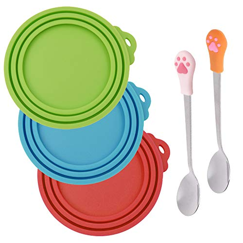 Discover Bargain SENHAI 3 Pcs Silicone Pet Can Covers & 2 Pcs Pet Spoons, Canned Food Lid and Spoon ...