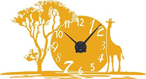GRAZDesign Wandklok Afrika - Muurtattoo met uurwerk Afrikaans met Savane Jungle / 800350 Uhrwerk schwarz 020, goudgeel