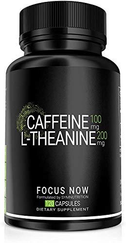 Koffein 100 mg, L-Theanin 200 mg - 90 pflanzliche Kapseln | Bessere Konzentrationsfähigkeit, Aufmerksamkeit, Stimmung & Wachsamkeit