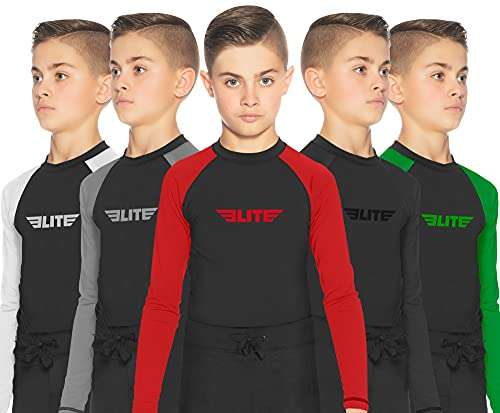 Elite Sports Rash Guards for Boys and Girls, Full Sleeve Compression BJJ Kids and Youth Rash Guard (Red, Medium)