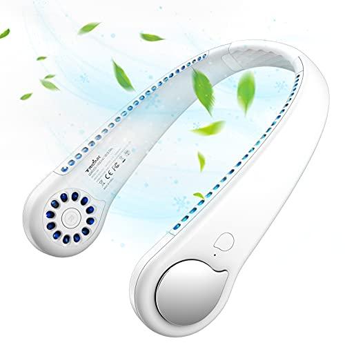 USB Portátil PequeñO Ventilador de Cuello Sin Aspas con Flujo de Aire 360°, Mini Recargable Manos Libres Ventilador de Banda Silencioso eléctrico, Personal Neck Fan para Deporte Oficina Hogar Viajar