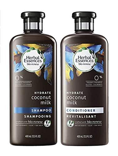 Herbal Essences Bio Renew Hydrate Coconut Milk Shampoing et après-shampoing hydratant à base de lait de noix de coco, 2x400ml