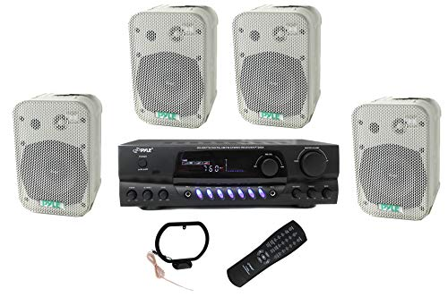 """4 Pyle 5.25"""" Outdoor Speakers + PT260A 200W Stereo Home Theater Receiver"""