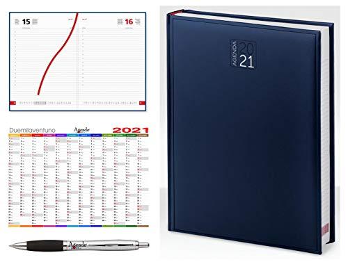 Agenda giornaliera 2021 A4 (21x30) AGENDEPOINT.IT - sabato e domenica separati - omaggio calendario annuale + penna touch