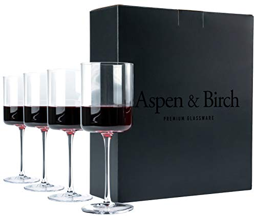 Aspen & Birch - Modern Wine Glasses Set of 4 - Red Wine Glasses or White Wine Glasses, Premium Crystal Stemware, Long Stem Wine Glasses Set, Clear, 15 oz, Hand Blown Glass Crafted by Artisans