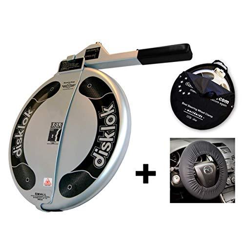 Disklok S 390 Silber Bundle mit Lenkrad-Schutzbezug und Aufbewahrungstasche - Lenkradkralle und Airbagschutz für Lenkräder mit 35-38,5 cm ø (für Linkslenker EU ohne UK)
