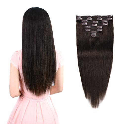 """Real Clip in Hair Extensions Dark Brown 8 Pieces - Premium Womens Straight Double Weft Thick Remy Hair Extensions Clip in on Human Hair for Short Hair (12"""" / 12 inch, #2, 82 grams/2.9 Oz )"""