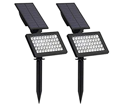 zmdx 2 Pack Solar Lamp Outdoor Adjustable 50 LEDs Solar Light Led Garden Ip44 Waterproof Wall Lighting for Garden/Lawn