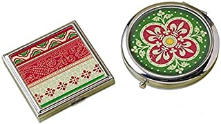 2 Classic Celtic Style Travel Pocket & Purse Mirror. 1 Round and 1 Square Double Sided Christmas Red & Green Irish Design ...