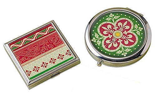 2 Classic Celtic Style Travel Pocket & Purse Mirror. 1 Round and 1 Square Double Sided Christmas Red & Green Irish Design Pattern Floral Fleur De Lis Stripe