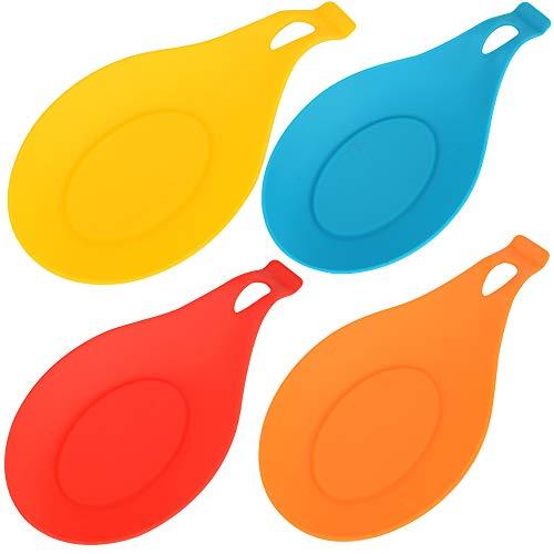 huaminxiangyue 4335499361 4 pcs/set Heat Resistant Silicone Spoon Rest Utensil Spatula Holder Kitchen Tool set of 4, yellow,blue,red,orange