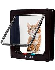 DEZHI kattendeur met 4-voudige vergrendeling, stille huisdierluiken voor katten, grote kattenluiken voor buitendeuren binnen, Easy InDEZHIllation Premium kattenluikdeur voor katten klein