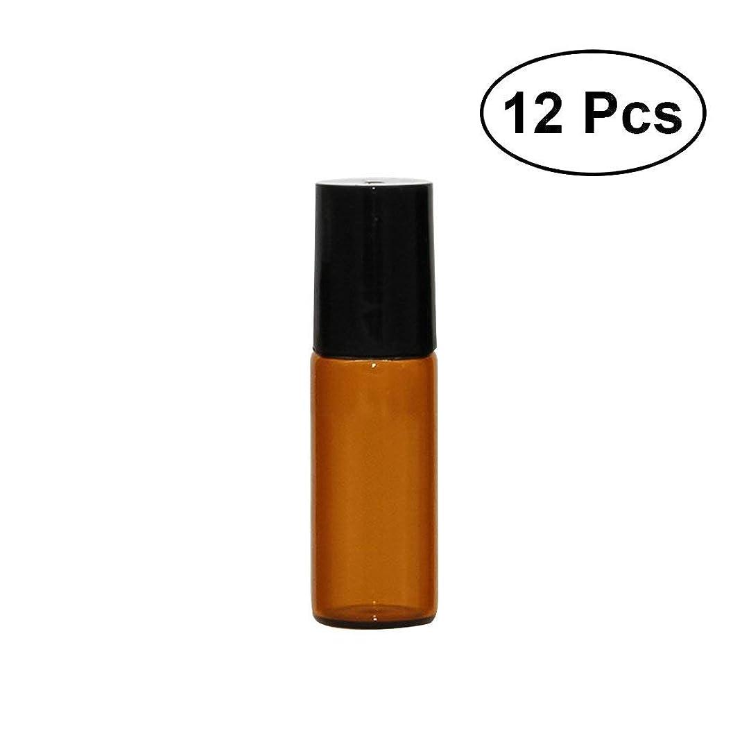 コンサルタント十分ではない趣味12本セット 5ml ローオンボトル イプ 茶色 香水 精油 遮光瓶 ガラスロールタ小分け用 アロマボトル 保存容器