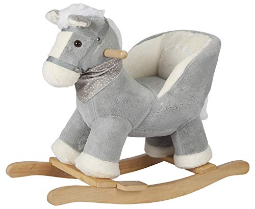ROCK MY BABY Baby Rocking Horse Gray with Chair, Plush Stuffed Rocking Pony, Wooden Rocking Toy Horse Baby Rocker Animal Ride on for Toddlers Girls and Boys Age 1 Year and Up (Gray Horse for 12m+)