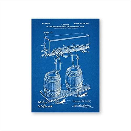 Barril de cerveza Grifo de presión de aire frío Impresiones de patentes Arte de la pared Carteles Decoración de la habitación Plano de la vendimia Lienzo regalo Cuadro de pintura Sin marco-B_50x70cm