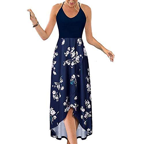 Damen Sexy Casual V-Ausschnitt Sling Ärmellos Strap Patchwork Open Back Print Asymmetrischer Saum Kleid