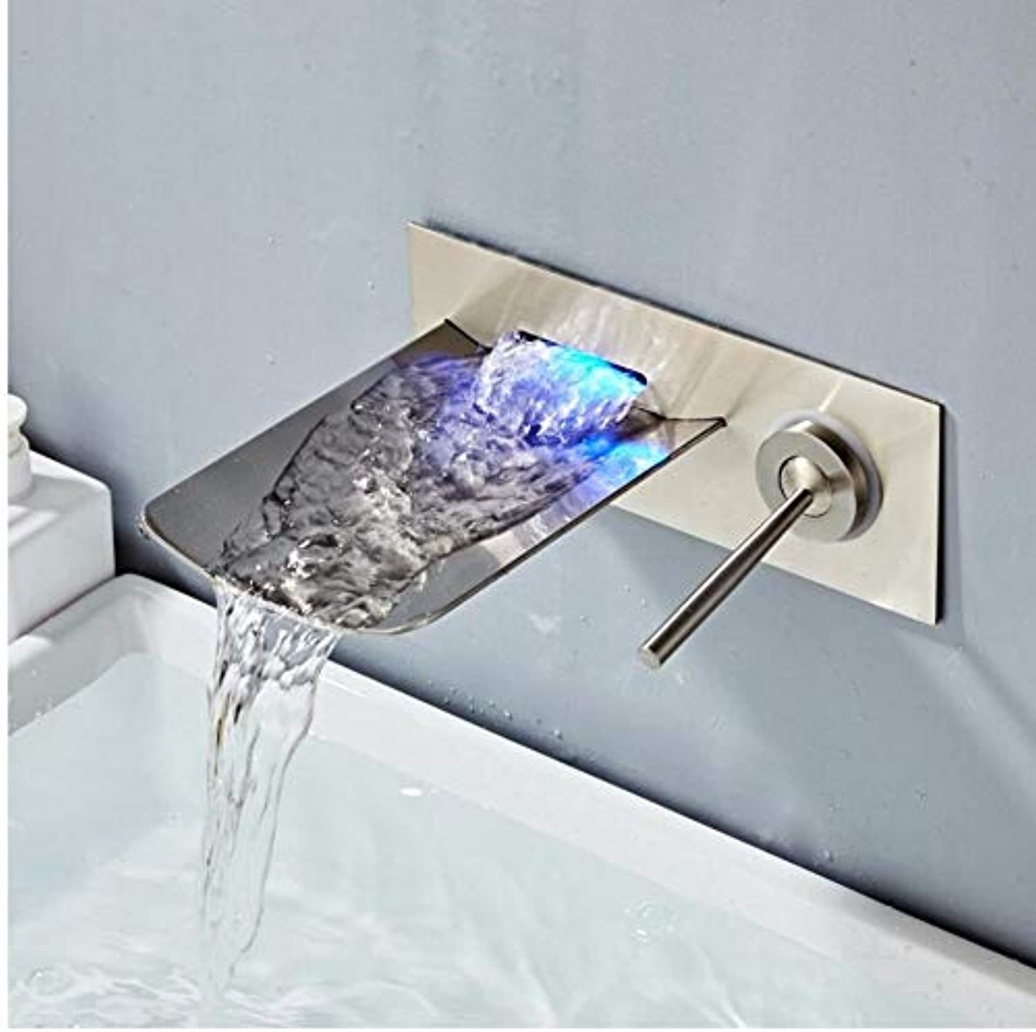 Faucet Bathroom Sink Faucet Wall Mounted Nickel LED Waterfall Mixer Bath Tap Temperature Control LED Faucet Chrome Black Finished