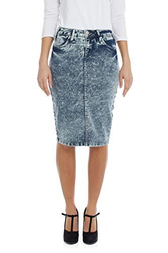 ESTEEZ Straight Jean Skirt for Women Knee Length Miami Bleach 16
