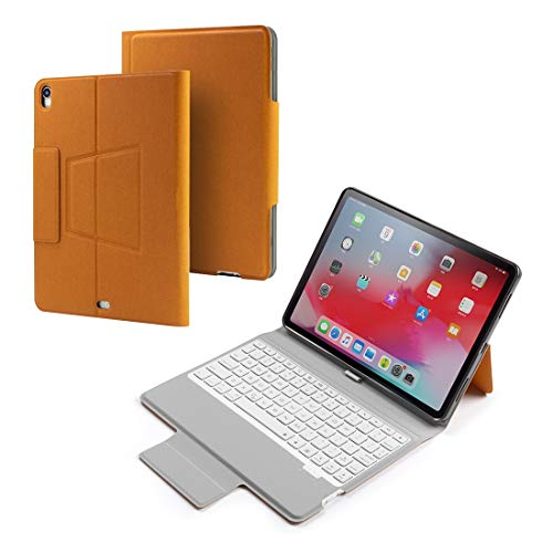 LDT Keyboard for Tablet PC, Colored Backlight Bluetooth Keyboard with Leather Flip Case for iPad Pro 11 (2018) (Color : Orange)