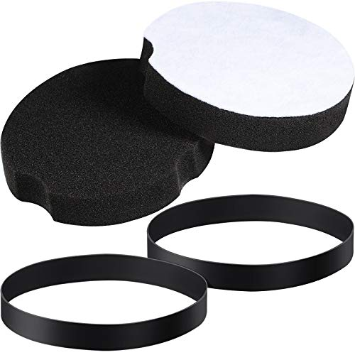 2 Pieces 1604895 Replacement Belts Vacuum Cleaner Belts and 2 Pieces 1604896 Replacement Filter Compatible with Bissell PowerForce Compactfor 2690, 1520, 2112 Series Vacuum Cleaner