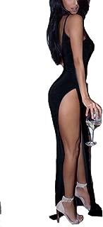 Women's Sleeveless V Neck Boho Floral Print Beach Double Slit Dress High Split Maxi Dress