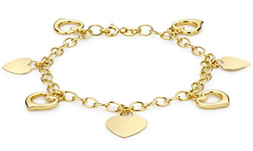 Carissima Gold Damen Herz 7-Charm Belcher Armband 9k(375) Gelbgold 4mm 18cm/7zoll