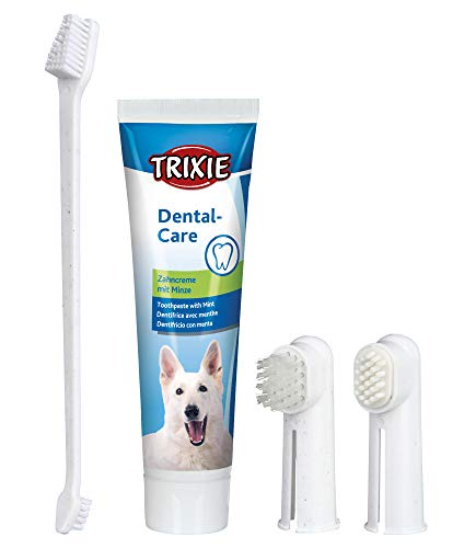 TRIXIE Set Higiene Dental, Pasta y cepillos dedos, Perro 🔥