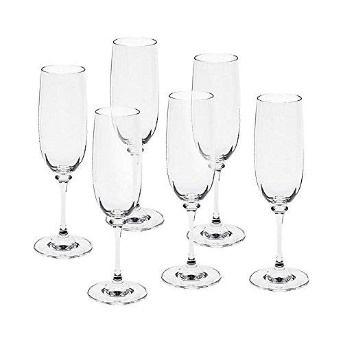 CRISTALICA Sektglas 6er-Set Condor Optik 190ml Kelch Schampus Champagner Bleikristall klar