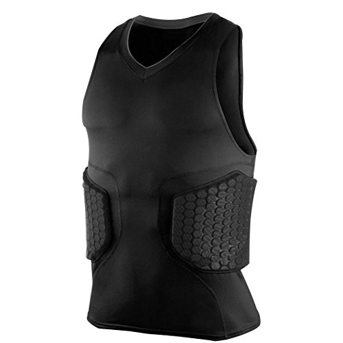 Zicac Men's Sports Shock Rash Guard Compression Padded Protective Shirt Soccer Basketball Training Vest (Black, L(Asia Tag XL))