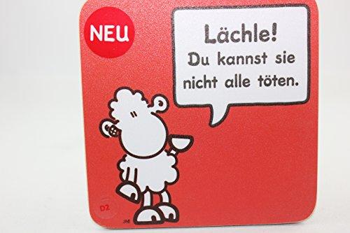 Sheepworld - 45452 - Untersetzer Nr. D2, Schaf, Lächle! Du Kannst sie Nicht alle töten., Kork, 9,5cm x 9,5cm