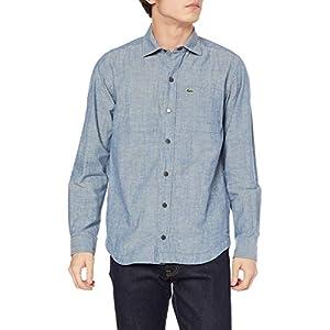 """[ラコステ] シャツ [公式] コットン×リネンリバーシブルボタンシャツ メンズ CH6359L ブルー 日本サイズM相当"""""""