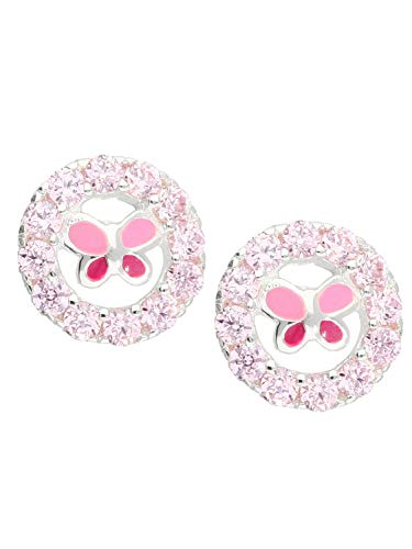 MyGold Vlinder oorbellen stekers oorstekers sterling zilver 925 zilver met steen zirkonia roze lak Ø 7 mm rond geschenken voor meisjes kinderen Sweety O-01598-S918-CZC-ros