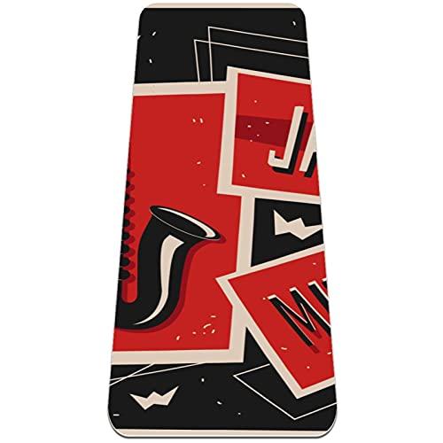 Colchoneta de Yoga Esterilla Yoga Material medioambiental TPE,Música vintage Jazz Saxaphone ,Espesor:6milímetros,8milímetros,Tapete de Deporte Grande y Antideslizante,Correas y Mochilas como Regalos