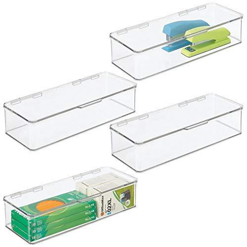 mDesign - Opbergbox - voor schrijfgerei en kantoorbenodigdheden/pennen/potloden/notitieblokken en meer - met deksel/stapelbaar/plastic - lang - Doorzichtig - per 4 stuks verpakt
