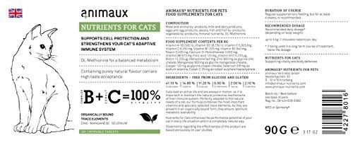 Katzen-Vitamine zur Stärkung des Immunsystems | Unterstützt den Zellschutz auf natürliche Weise | animaux – nutrients for cats | Vom Tierarzt empfohlen | DL-Methionin für einen ausgewogenen Stoffwechsel | Unterstützt das Leistungspotential | rein natürliche Geschmacksträger | hohe Geschmacksakzeptanz | Zink, Mangan, Selen | für gesunde Haut und ein glattes, glänzendes Fell - 4