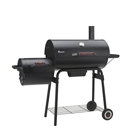 LANDMANN Black Taurus 660 + 31426 Smoker Charcoal BBQ Black Steel 141 x 53 x 125 cm
