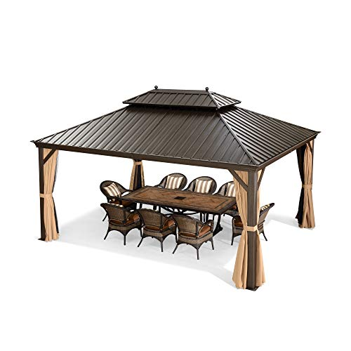 PURPLE LEAF 12' X 16' Outdoor Galvanized Steel Hardtop Double Roof Permanent Gazebo Canopy Aluminum Frame Patio Garden Gazebo with Curtains and Netting