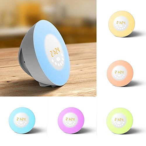 Kobwa - Lampada e sveglia con simulatore di alba, luce notturna soffusa, con radio FM, tasti touch, 7colori LED, 6suoni naturali, funzione snooze