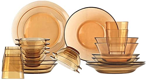 Kitchen Dinnerware Set, Glass Dinnerware Set for 8, Clear Glass Dish Set 20 Pieces - Amber Glass Dinner Plates and Bowls - High Heat Resistance - Microwave Safe - for Home, Kitchen and Dining Microwav