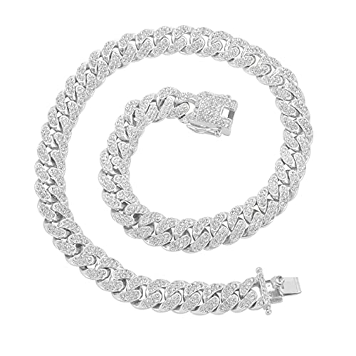 Miami Cuban Link Chain Necklace Bling CZ Diamonds Chain Iced Out Hip Hop Jewelry Gifts for Men Women Gold Silver (18 inch, Silver)