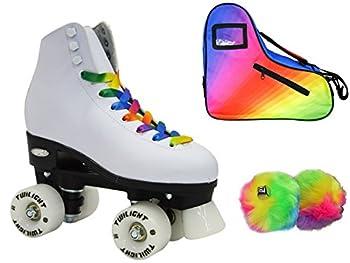 Epic Allure Twilight Rainbow LED Light Up High-Top Quad Roller Skate 3 Piece Bundle  Adult 8