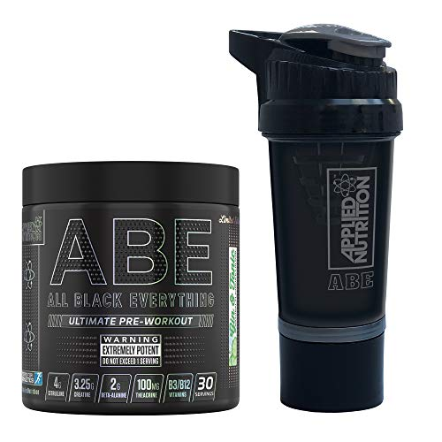 Applied Nutrition Bundle ABE Pre Workout 315g + ABE Protein Shaker | All Black Everything Pre Workout Energy, Increase Physical Performance with Caffeine, 315g, 30 Servings (Gin & Tonic)